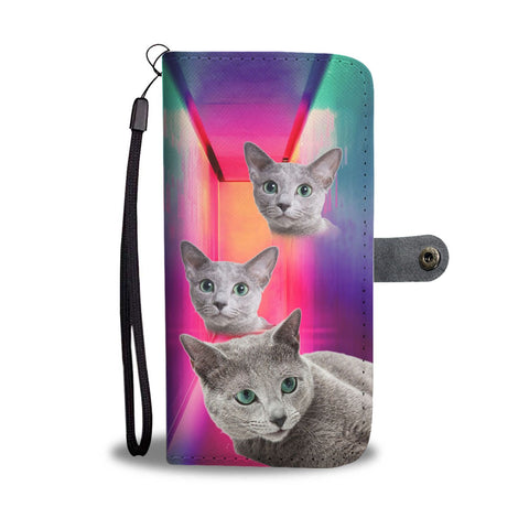Russian Blue Cat Print Wallet Case- Free Shipping
