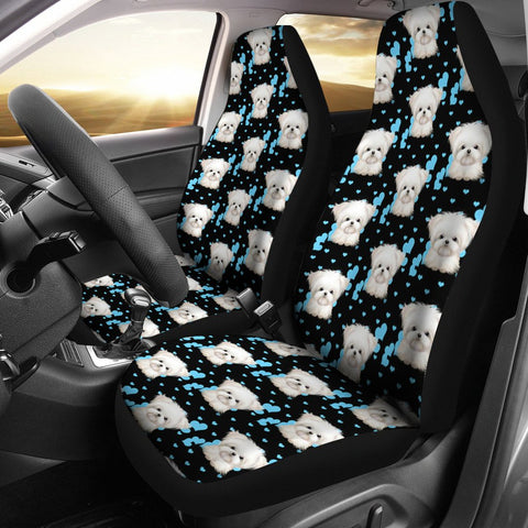 Maltese Dog Pattern Print Car Seat Covers-Free Shipping