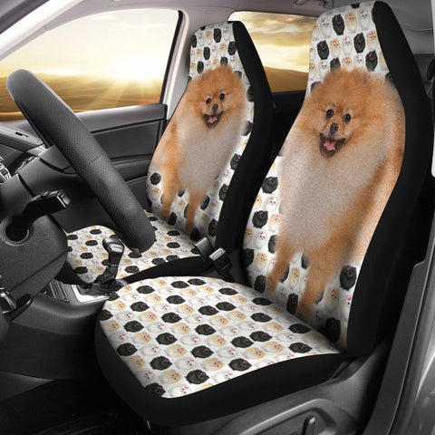 Black White Pomeranian Dog Patterns Print Car Seat Covers-Free Shipping