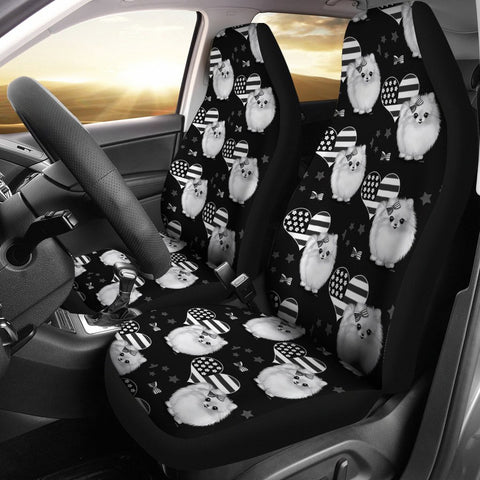 Pomeranian Dog On Black Print Car Seat Covers-Free Shipping
