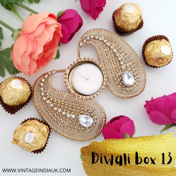 Diwali Gift Box 13 - Diamond Paisley Tealight