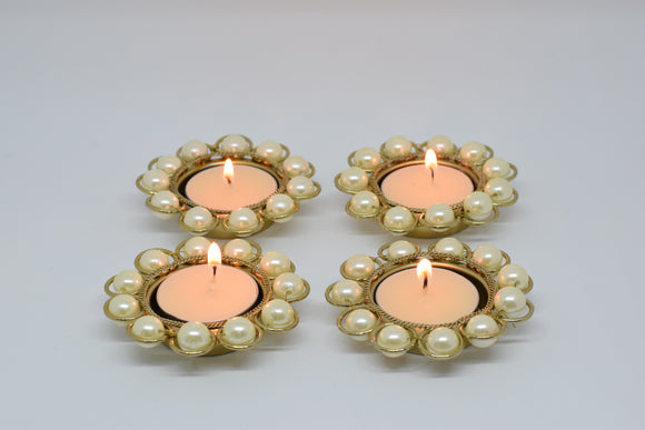 Small Pearl Flower Tealight (Set of 4)
