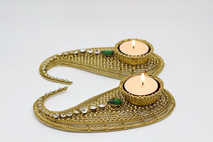 Paisley Green Tealights Single (Pairs)