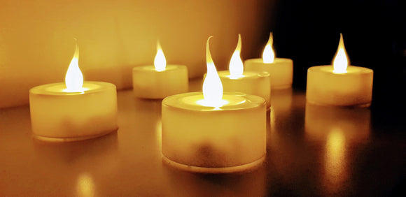 NEW 6 Matchless Flickering Tealight Candles (Child Friendly)