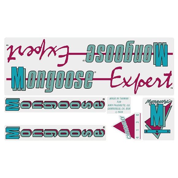 1988 Expert Mongoose decal set - black frame
