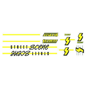 Skyway 1988 - Street Scene Fluro Yellow Decal Set Old School Bmx Decal-Set