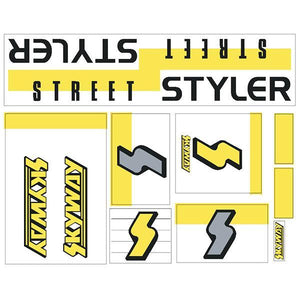 Skyway 1988 - Street Styler Fluro Yellow Decal Set Old School Bmx Decal-Set