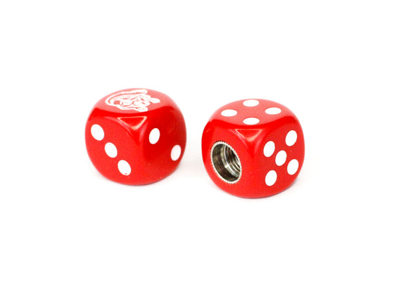 Mongoose Maurice BMX Dice Tire Valve Caps (Pair) - Red