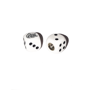 Mongoose Maurice BMX Dice Tire Valve Caps (Pair) - White