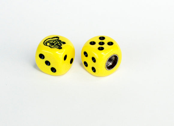 Mongoose Maurice BMX Dice Tire Valve Caps (Pair) - Yellow