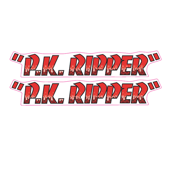 P.K. Ripper down tube decal - DRIPPY red on clear