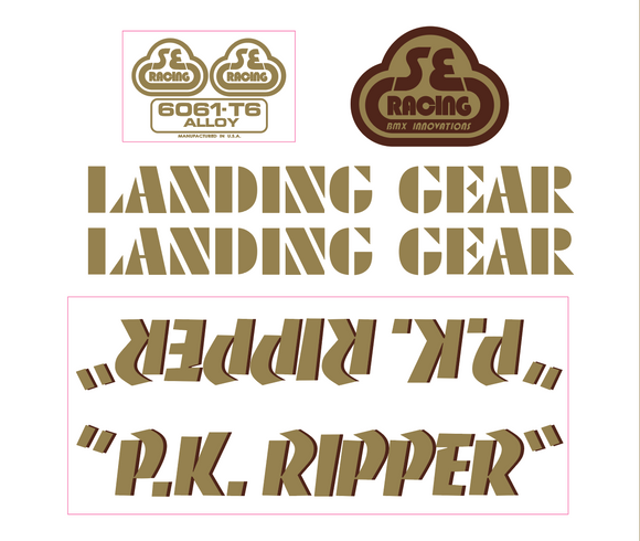 P.K. Ripper Decal set - gold w/brown shadow