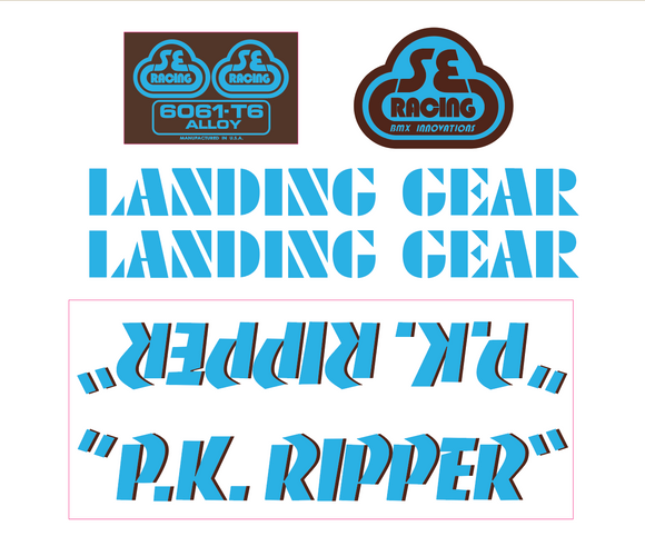 P.K. Ripper Decal set - blue w/brown shadow