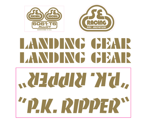 P.K. Ripper Decal set - gold on clear