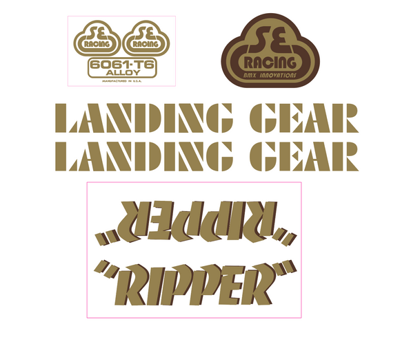 Ripper Decal set - gold w/brown shadow