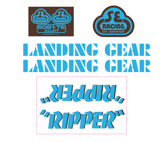 Ripper Decal set - blue w/brown shadow