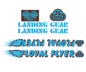 Floval Flyer Decal set - blue w/brown shadow