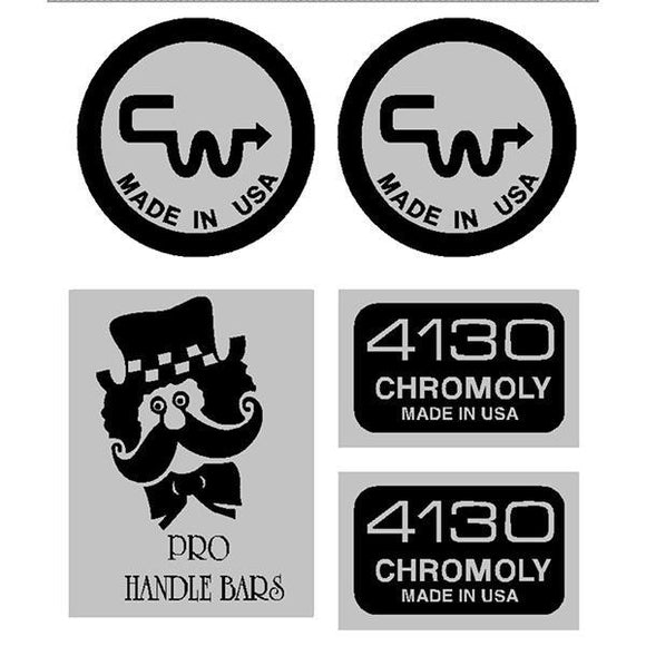 Cw - Pro Handle Bar Black Decals Old School Bmx Decal