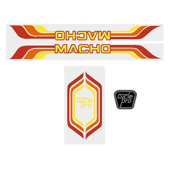 Cycle Pro - Macho Orange Red Decal Set Old School Bmx Decal-Set