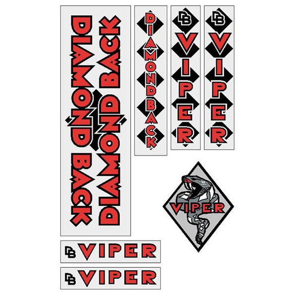 Diamond Back - 1982 Viper - RED on clear DB decal set