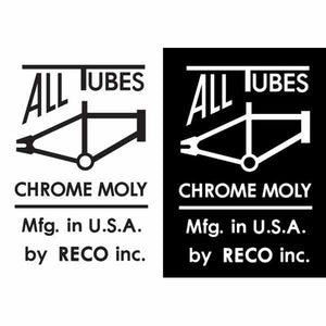 "1978-79 ""ALL TUBES CHROME MOLY - RECO"" mongoose top tube decal"