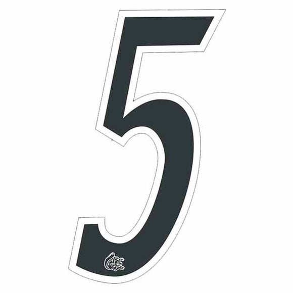 Mongoose plate numbers #5 black w/ white outline