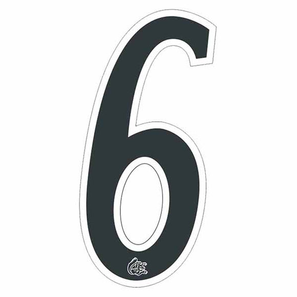 Mongoose plate numbers #6 black w/ white outline