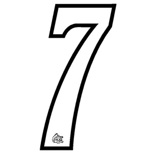Mongoose plate numbers #7 white w/ black outline
