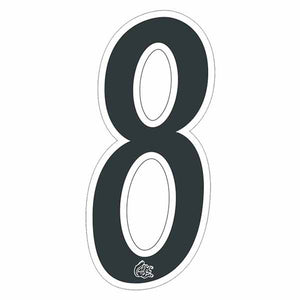Mongoose plate numbers #8 black w/ white outline