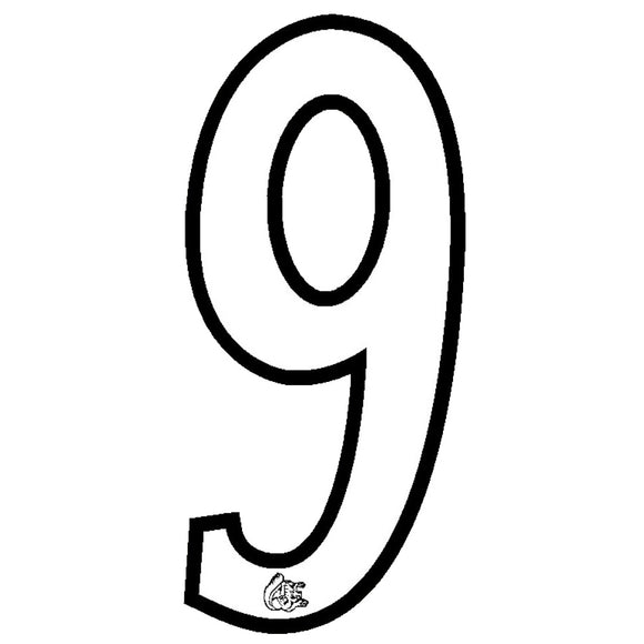 Mongoose plate numbers #9 white w/ black outline
