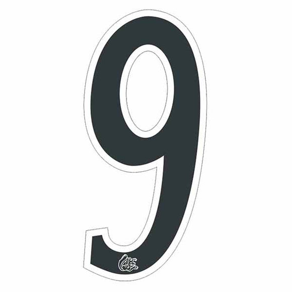 Mongoose plate numbers #9 black w/ white outline