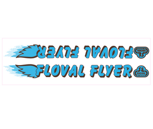 Floval Flyer down tube decal - blue w/brown shadow