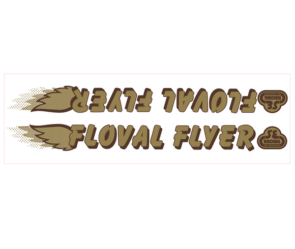 Floval Flyer down tube decal - gold w/brown shadow