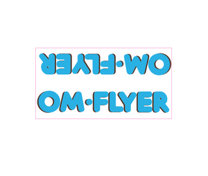 OM Flyer down tube decal - blue w/brown shadow