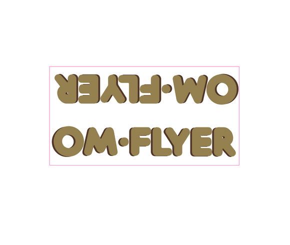 OM Flyer down tube decal - gold w/brown shadow