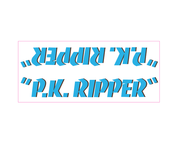 P.K. Ripper down tube decal - blue w/ brown shadow