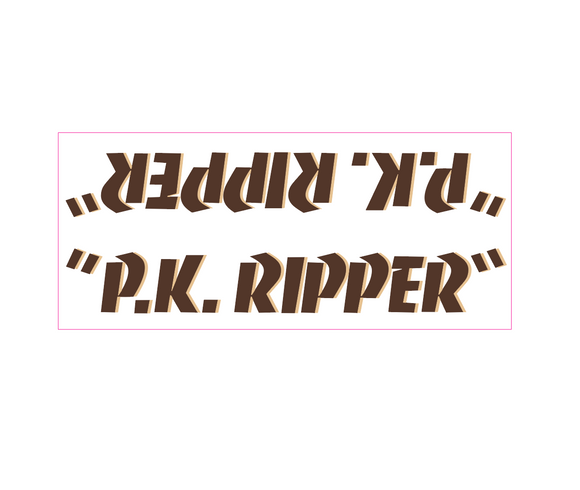 P.K. Ripper down tube decal - brown w/ tan shadow