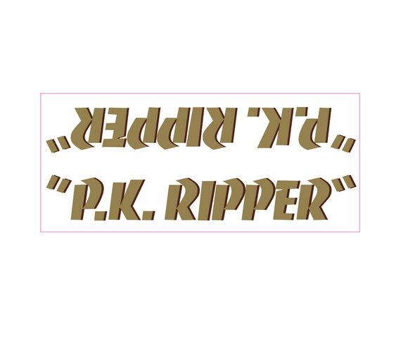 P.K. Ripper down tube decal - gold w/ brown shadow