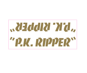 P.K. Ripper down tube decal - gold on clear