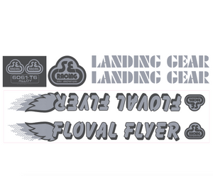 Floval Flyer Decal set - silver w/gray shadow