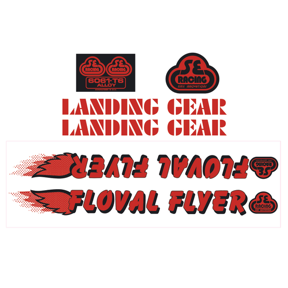Floval Flyer Decal set - red w/black shadow