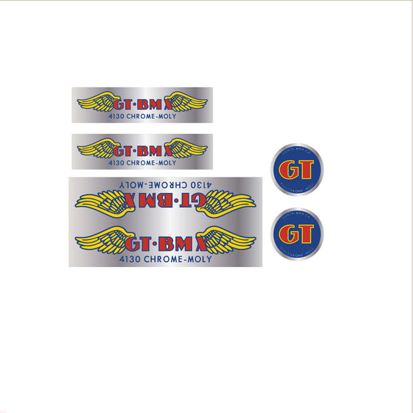 GT BMX 4130 decal set - chrome - large down tube