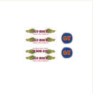 GT BMX Santa Ana decal set - red font on clear