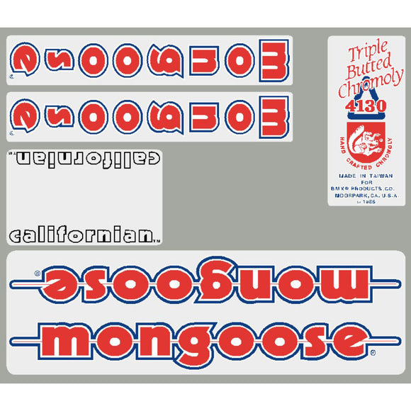 1986 Californian Mongoose decal set - White frame