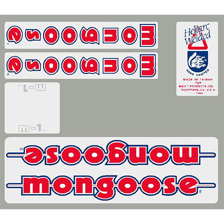1986 M1 Mongoose decal set - White frame