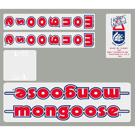 1986 M1 Mongoose decal set - Blue or Chrome frame
