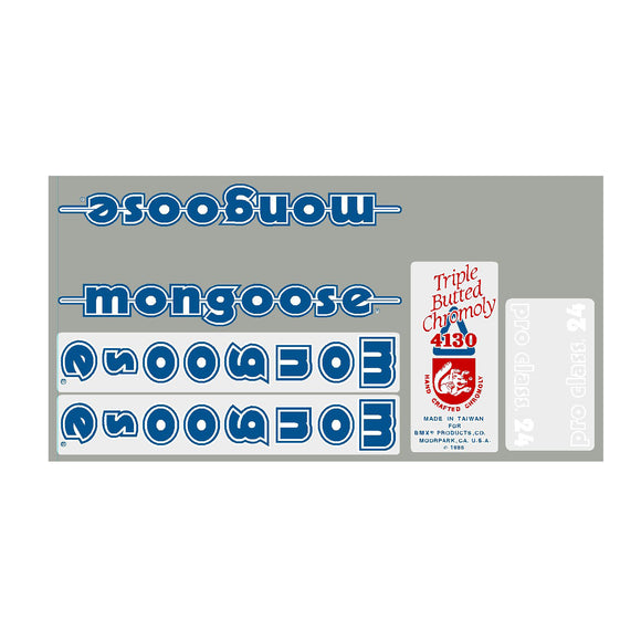 1986 Pro Class 24 Mongoose decal set