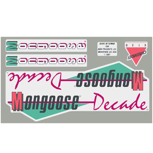 1987 Decade Mongoose decal set - Blue frame