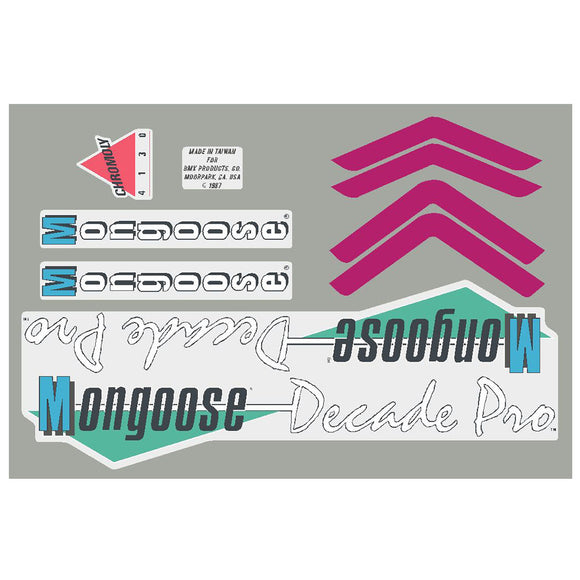 1987 Decade Pro Mongoose decal set