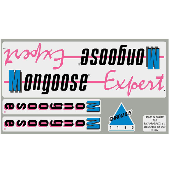 1987 Expert Mongoose decal set  - chrome or white frame